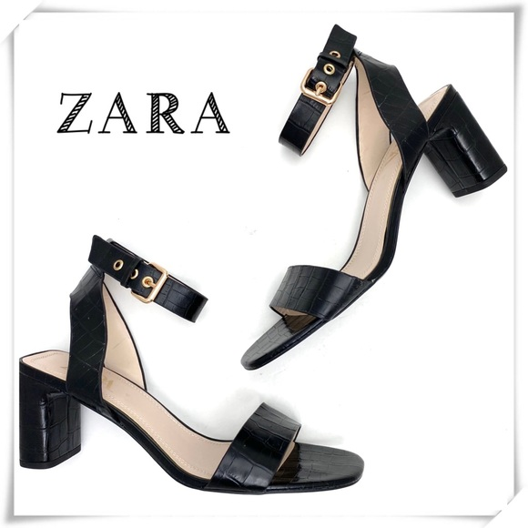 Zara Croco Ankle Strap Block Heel Sandals Black